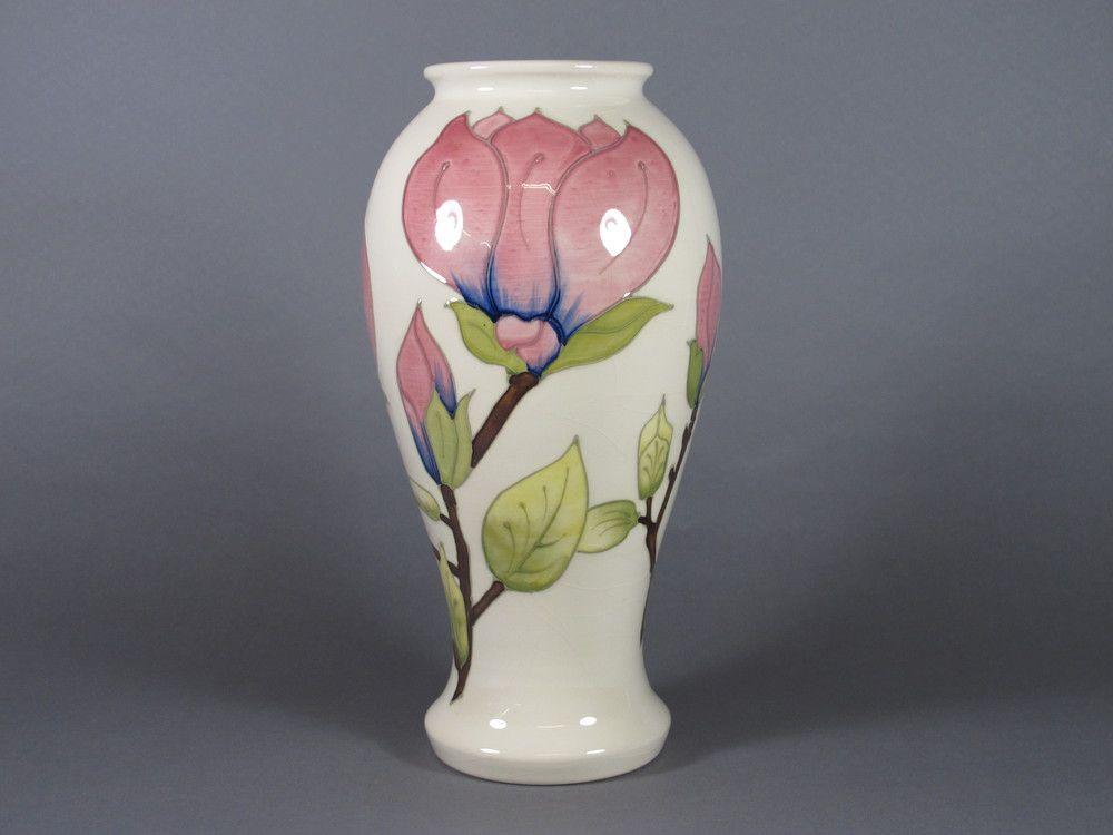 A White Glazed Moorcroft Vase Decorated Magnolia The Base Impressed
