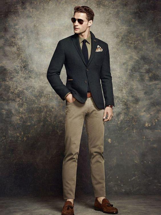 Men's Black Wool Blazer, Olive Long Sleeve Shirt, Khaki Chinos ...
