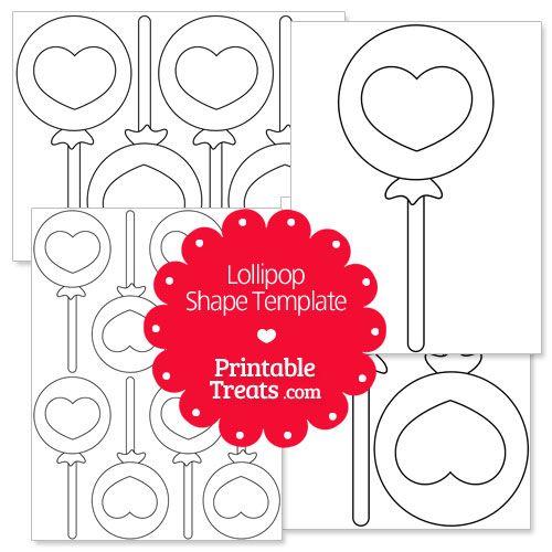 Printable Lollipop With Heart Shape Template Heart Shapes Template Printable Shapes Heart Shapes