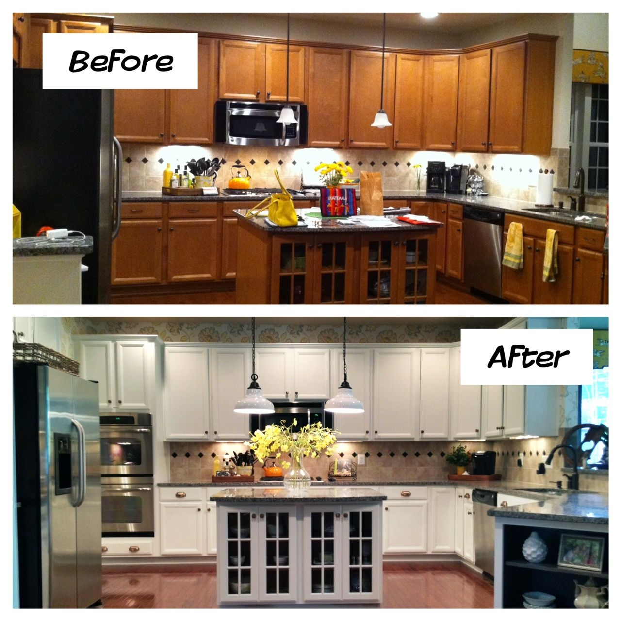 Painting Decorating Wirral Before After Resurfacing: White Kitchen Cabinets