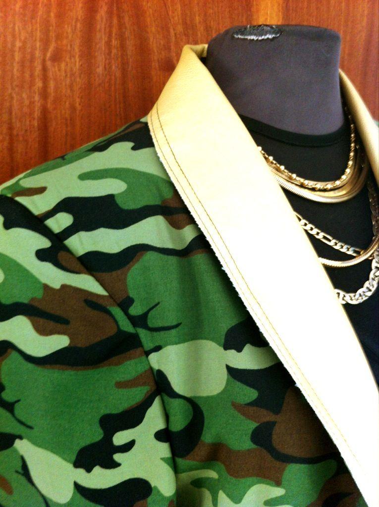 Unisex cotton Camo Blazer with leatherette trimming  R450 bianca@punkandivy.com