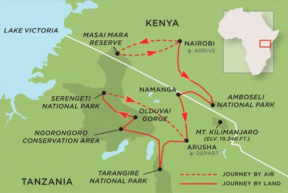 expedition map of kenya and tanzania | Tanzania, Kenya ...