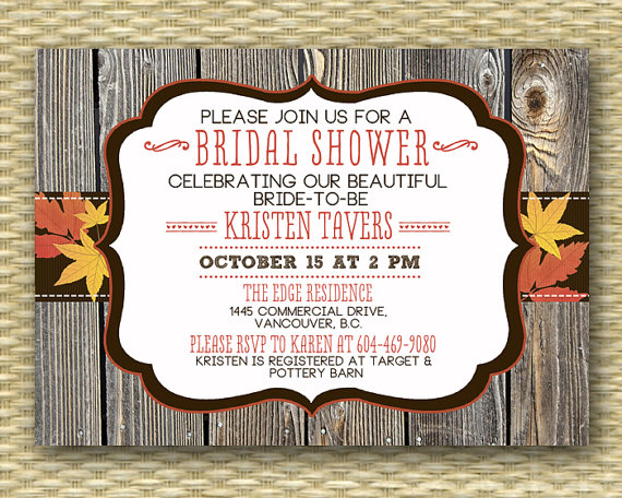 country western wood autumnfall bridalwedding or baby shower invitation typography on etsy 1500