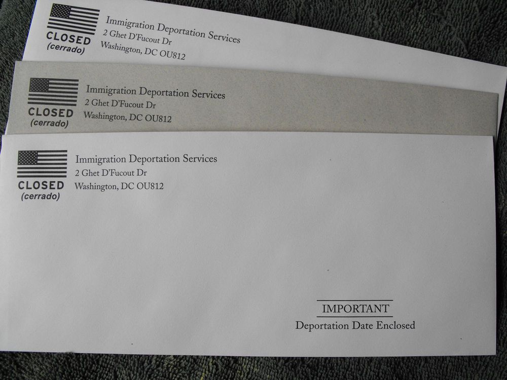 Immigration Deportation Services Prank Envelope | Delirious Daves