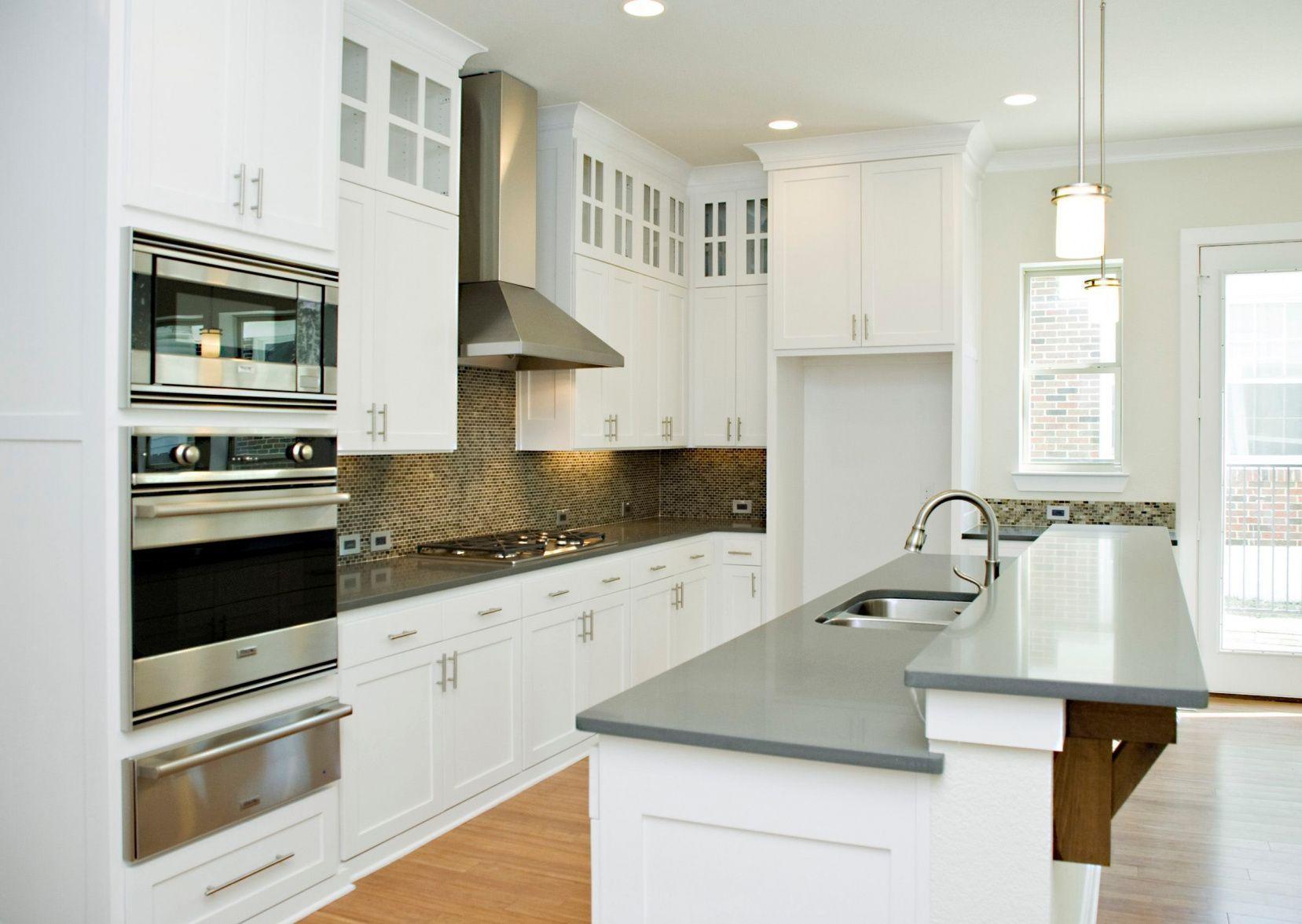 2019 White Kitchen Cabinets With Gray Quartz Countertops  Kitchen