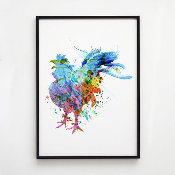 Rooster art. Bird poster. Wildlife decor. Printed on high quality art paper.  SIZES:  8.3 x 11.7 (A4) 11.7 x 16.5 (A3)  This print comes