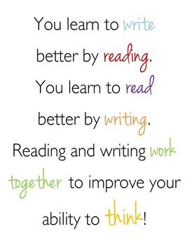 You Learn To Write By Reading Quote Poster Reading Quotes Posters Learning To Write Teaching Quotes
