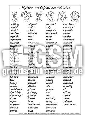 Adjektive-für-Gefühle-Liste.pdf | German for Kids | Bullet ...