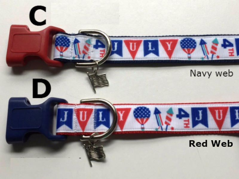 Red White And Blue Stars Usa 4th Of July Patriotic Adjustable 1 1 5 Wide Dog Collar With Flag Charm Leashes Key Fob Wide Dog Collars Dog Lady Blue Star