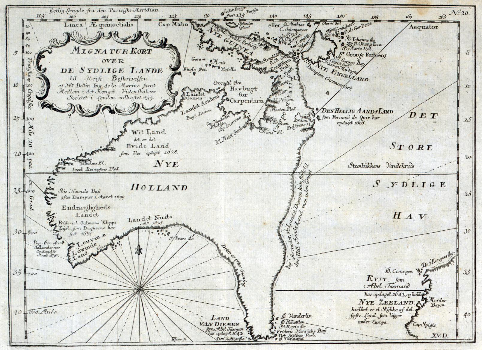 Map Of Australasia Jacques Nicolas Bellin In