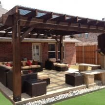 Patio Pergola Featuring The Post Base Kit And Timber Bolts By OZCO  Ornamental Wood Ties
