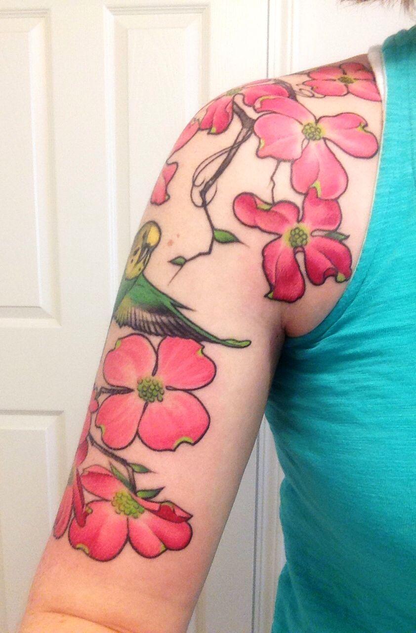 Half sleeve dogwood tattoo floral half sleeve tattoo ideas