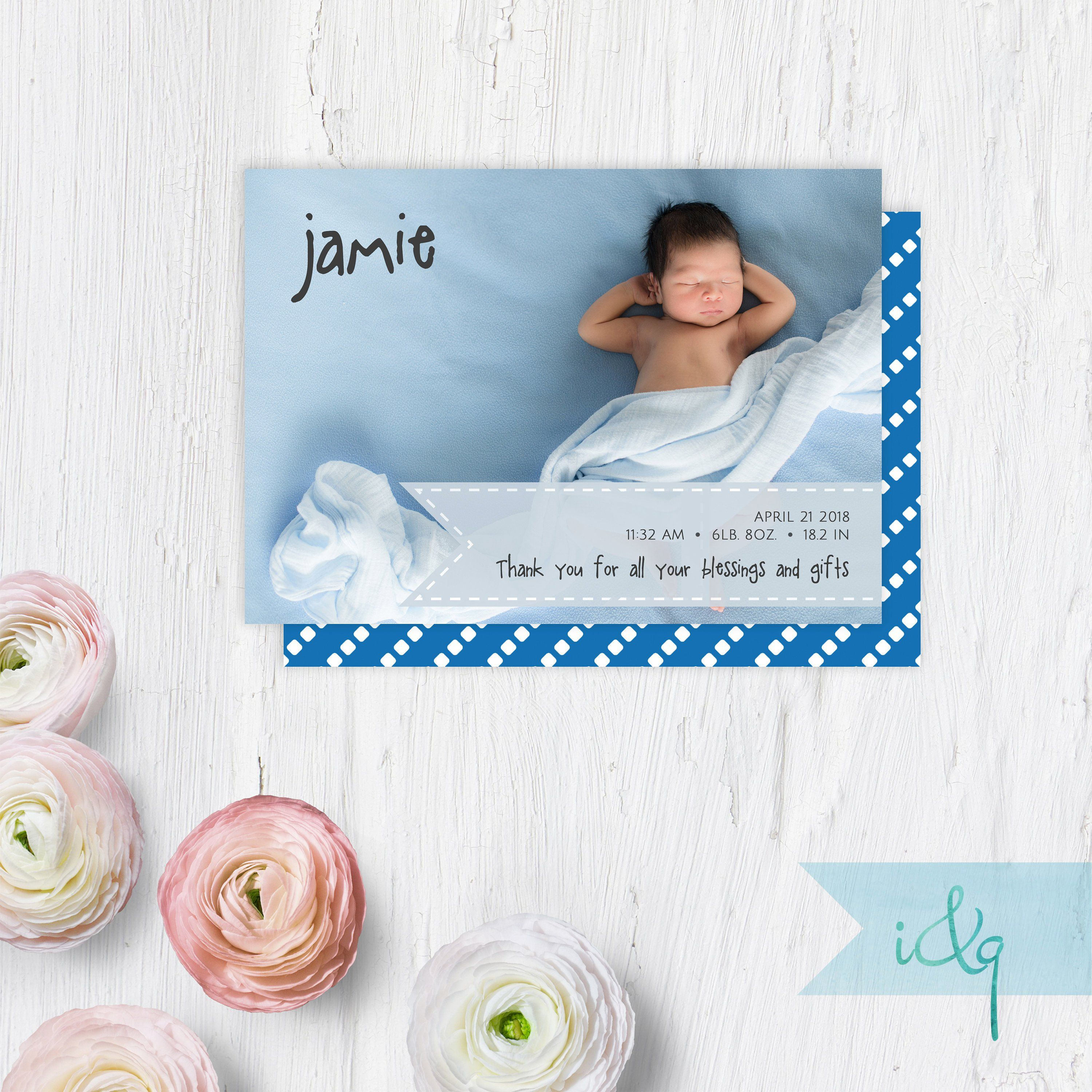 Newborn Announcement Card Your Custom Photo New Baby Printable Birth Announcement Star Background