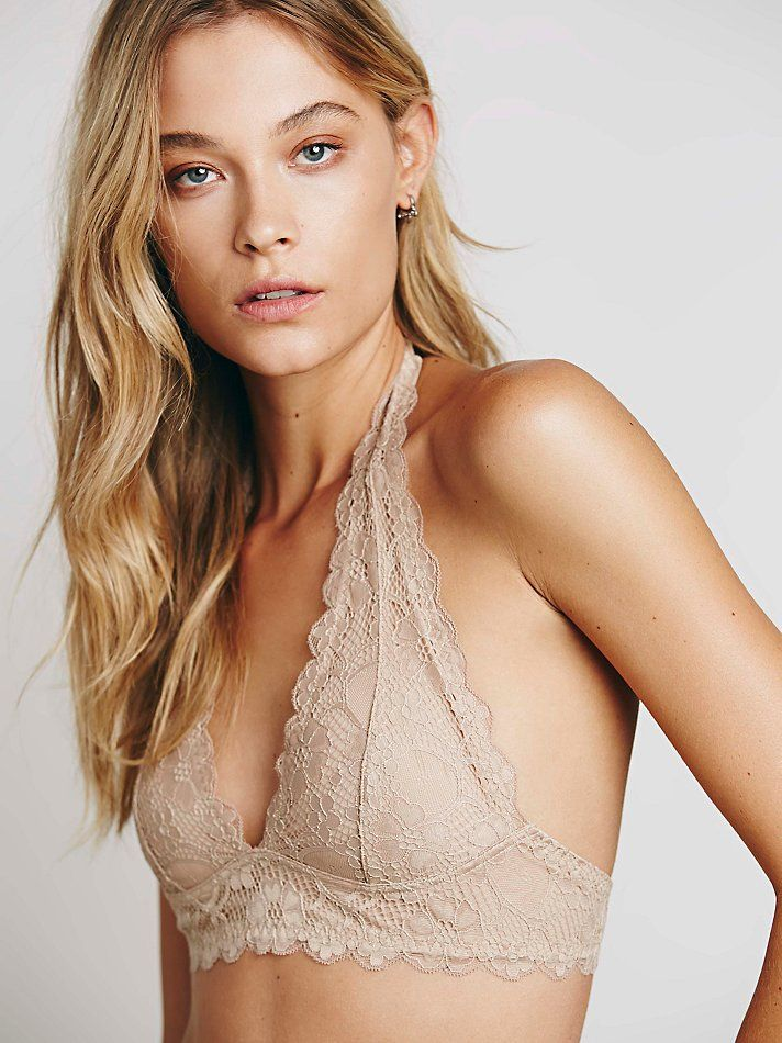 047288ccc72db Free People Galloon Lace Halter Bra in Beige (Nude)