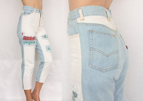 955ced47c 80s two tone patched jeans color block jeans high waist skinny jeans mom jeans  light blue white jeans 90s vintage denim S 28 29 short leg