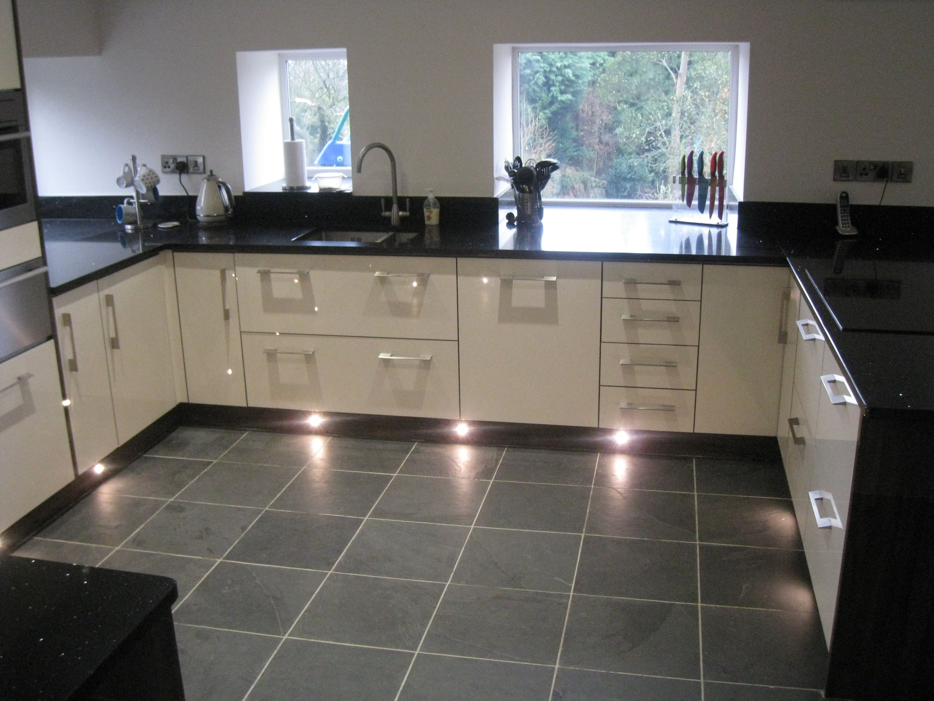 Our Brazilian Black Slate Looks Great Lit By The Lights Under These