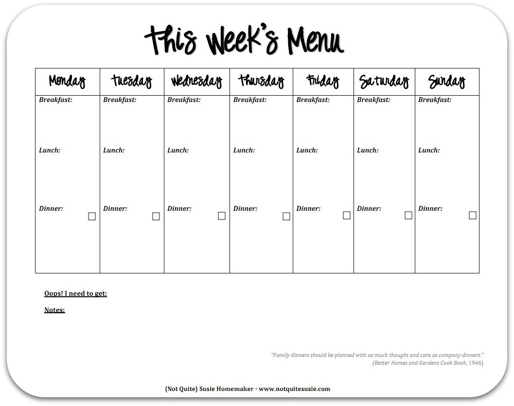 Free Printable Weekly Meal Planner | Menu planners, Printable menu ...