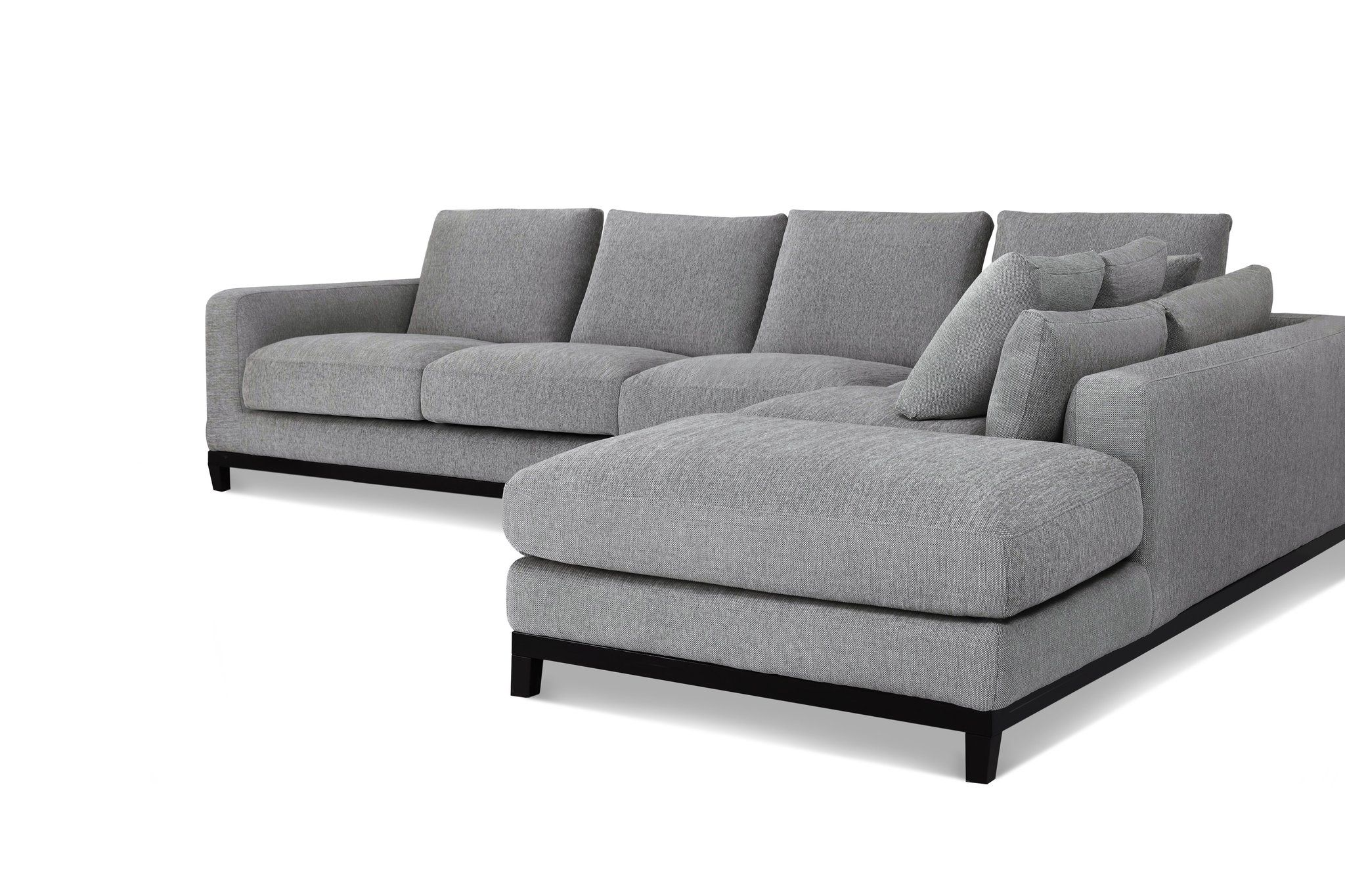 1011ftgryr Kellan Sectional Sofa Right Chaise In Grey Tweed
