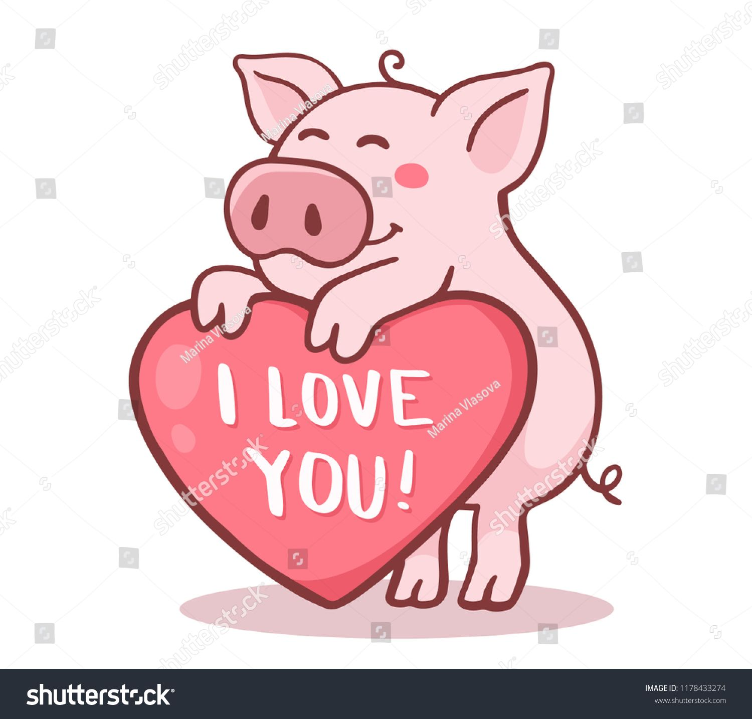 Vector illustration of cute cartoon pig with pink large