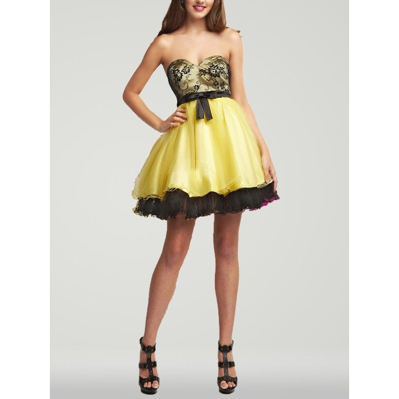 Homecoming Dresses | ... Short Embroidery Black and Yellow Prom ...