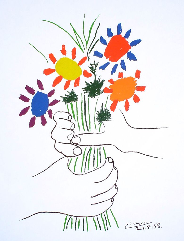 bouquet with hands by pablo picasso silkscreen fine art print