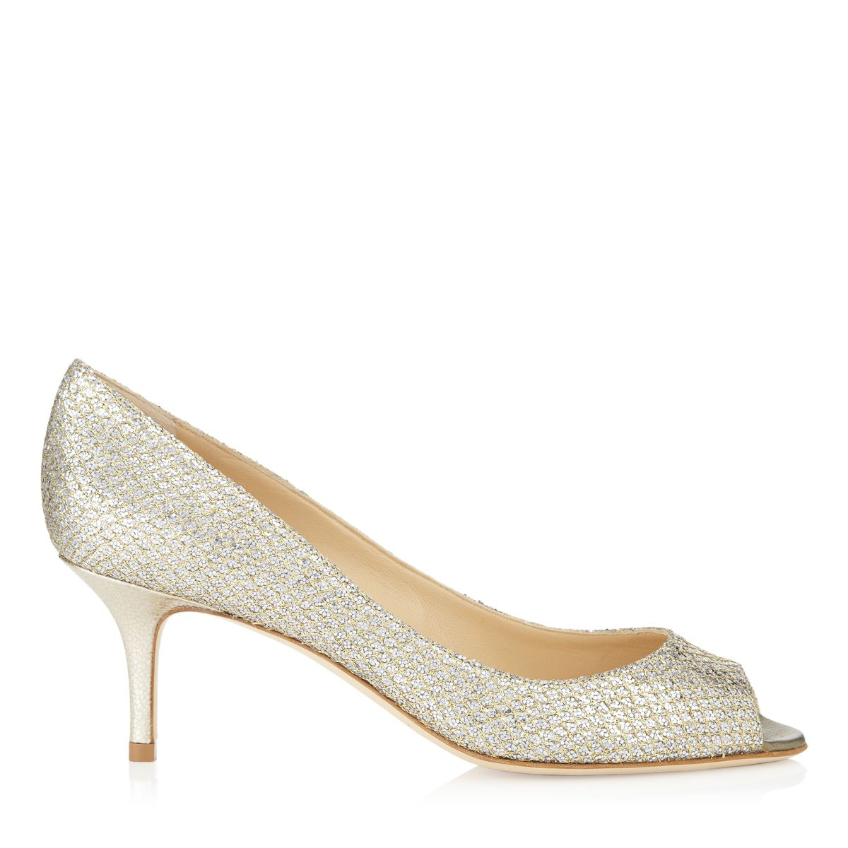 Sparkly shoes add a glamorous touch to a simple cocktail dress. This easy to wear style has a pretty peep toe silhouette and a heel that will keep you comfortable from pre dinner cocktails to the dance floor finale. Heel measures 65mm/2.5