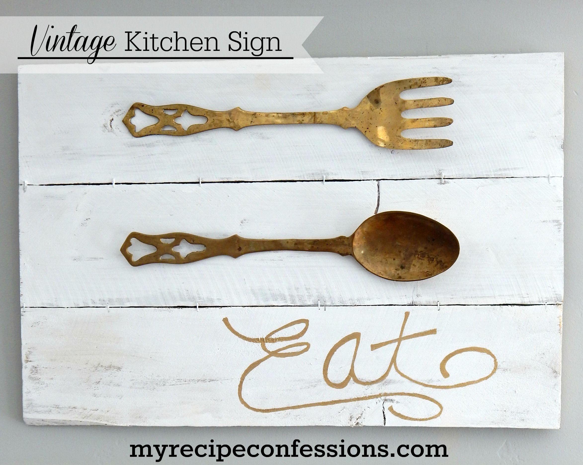 Vintage Kitchen Utensils Sign   Vintage, Vintage kitchen signs and ...