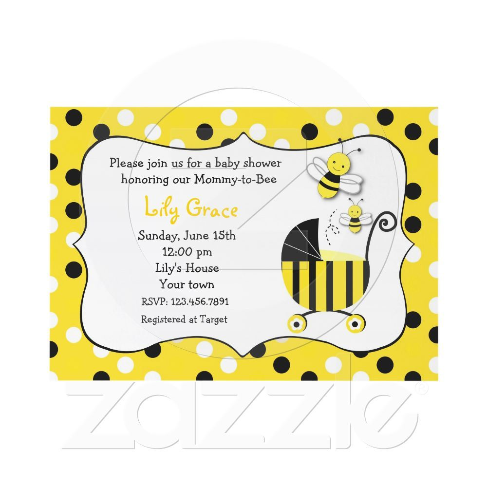 Bumble Bee Baby Shower Invitations | Bumble bees, Babies and Shower ...