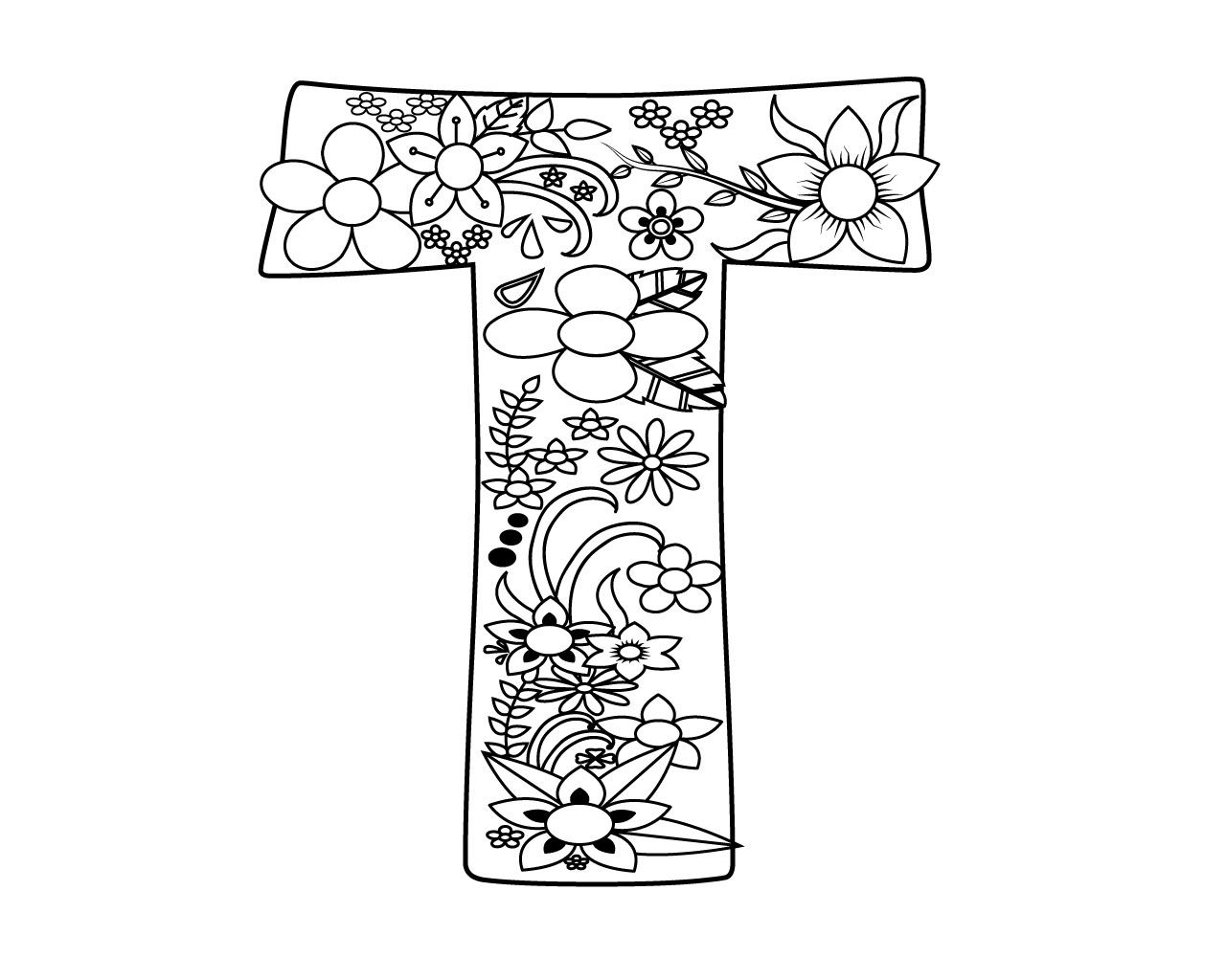 Letter T Coloring Pages For Adults Coloring Pages Alphabet Coloring Pages Coloring Pages For Kids