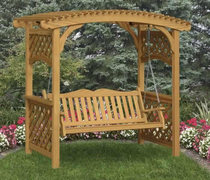 Garden arbors furniture swinging bench free plans