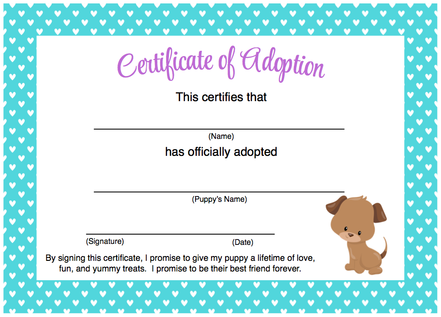 image regarding Pet Adoption Certificate Free Printable named Girly Dog Birthday Celebration No cost Printables Birthday Bash