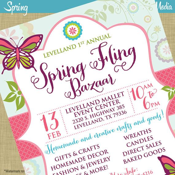 Spring Fling Craft Bazaar Fair Market Expo Invitation Poster