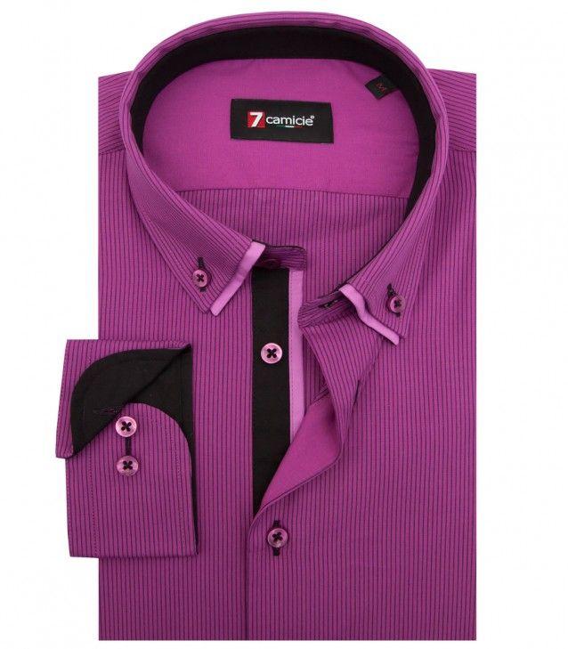 a3750aab43 Camisas Leonardo Popelín Morado ciclamino negro