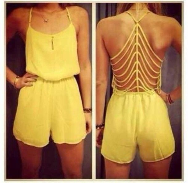 dress romper yellow cut-out girly outfit sexy clothes