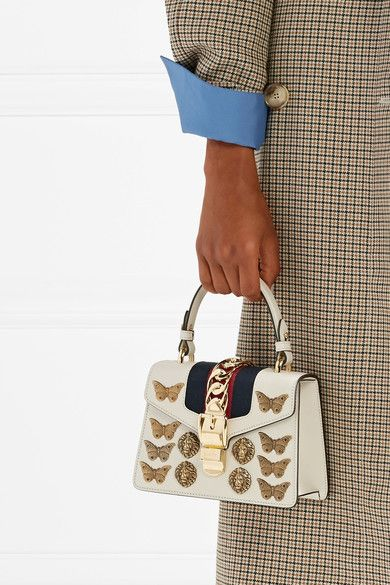 Sylvie Mini Embellished Chain-trimmed Leather And Canvas Shoulder Bag - White Gucci F8jrp3cu0