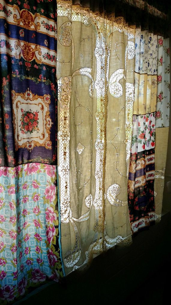 Shabby Chic Curtains Boho Drapes panels Hippie Hippy by HippieWild
