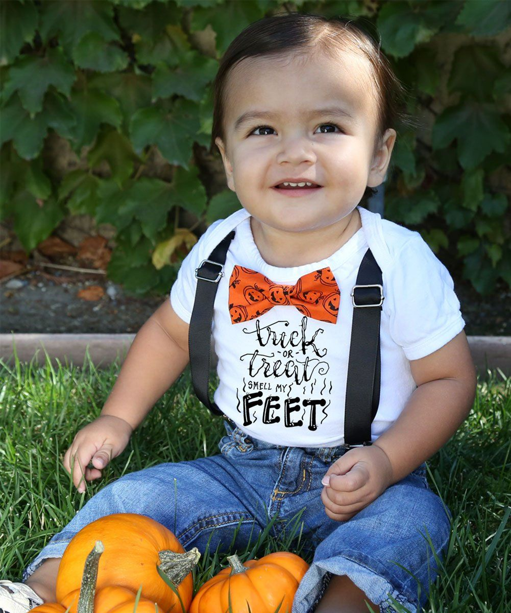 Baby Boy Halloween Outfit Trick or Treat Smell My Feet
