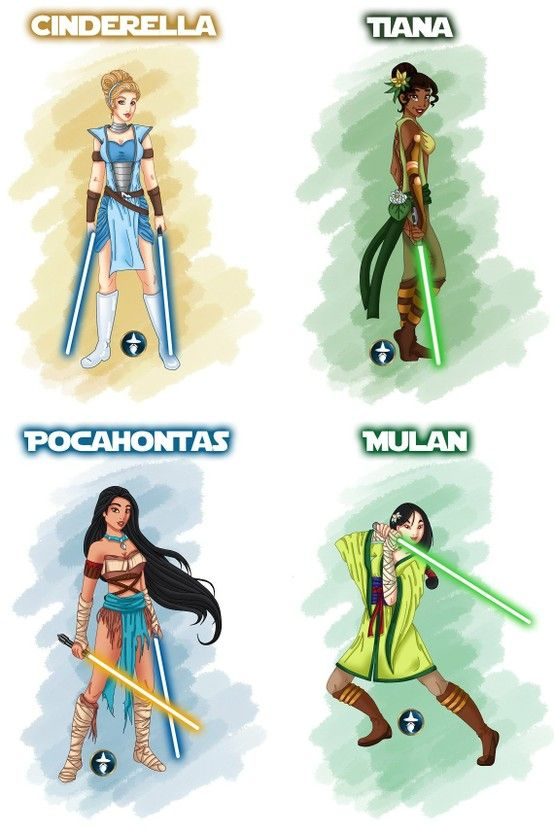 Mulan would be the best Jedi, but tiana and Pocahontas have the best outfits
