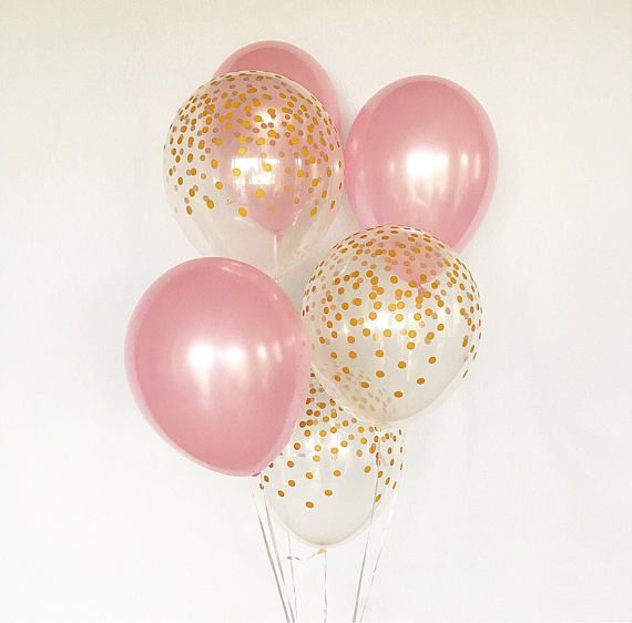 Pink And Gold Latex BalloonsPink First BirthdayBaby Shower Girl Birthday Party Baby BalloonsGold Confetti Look Balloon