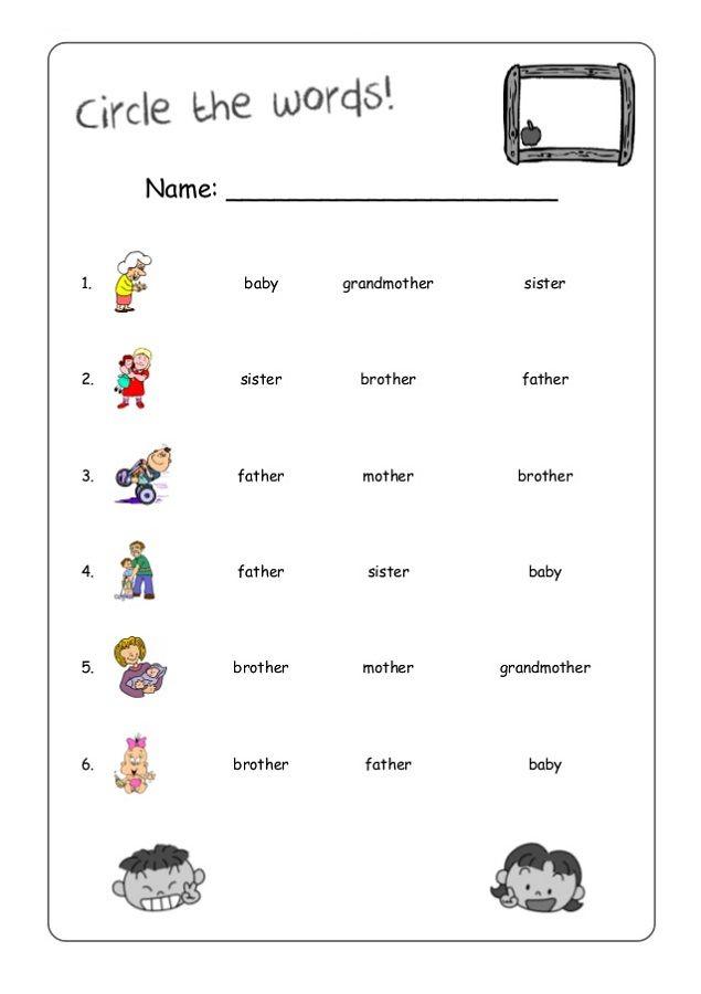 Family Members Worksheet Ideas For The House Pinterest