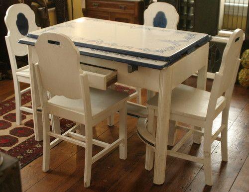 Vintage Ca 1930 S Art Deco Enamel Porcelain Top Table Blue White Plus 4 Chairs Vintage