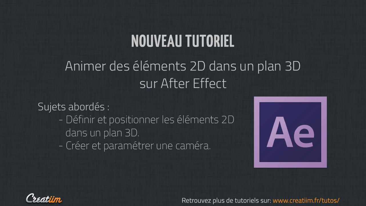 Tutoriel After Effect : Animer des éléments 2D dans un plan 3D. Plus de tutoriels sur : http://creatiim.fr/tutos/