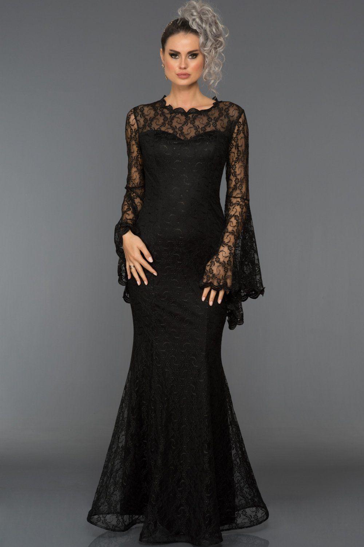 Siyah Uzun Kol Dantelli Abiye Elbise Abu031 Elbise Nedime Giysileri Moda Stilleri