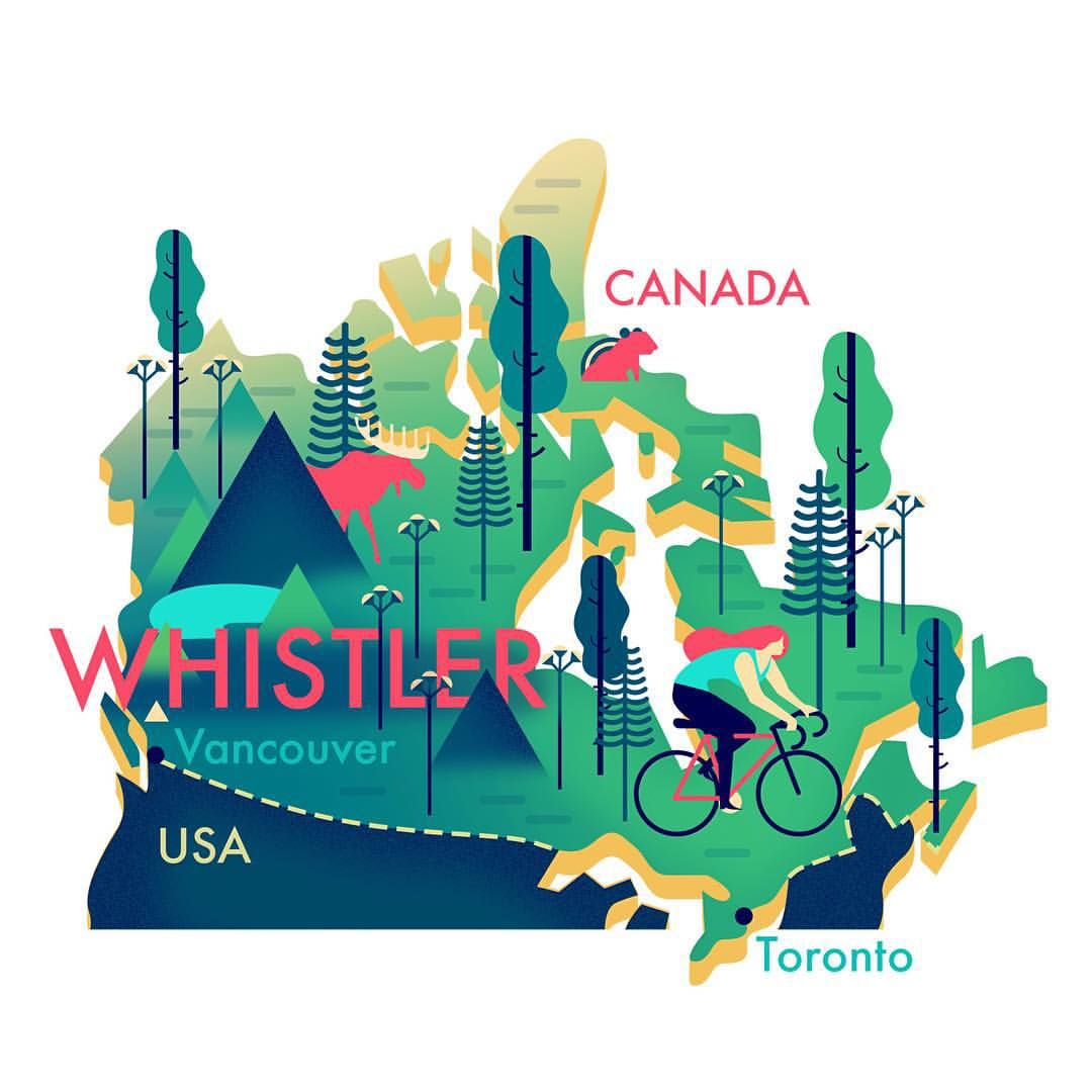 "Canada Map Illustrator Owen Davey on Instagram: ""A new #map #illustration of Whistler"