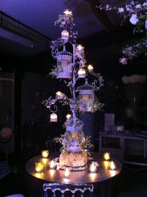 Triple birdcage stand with hanging candle votives triple bird cage holder from essential wedding hire junglespirit Gallery