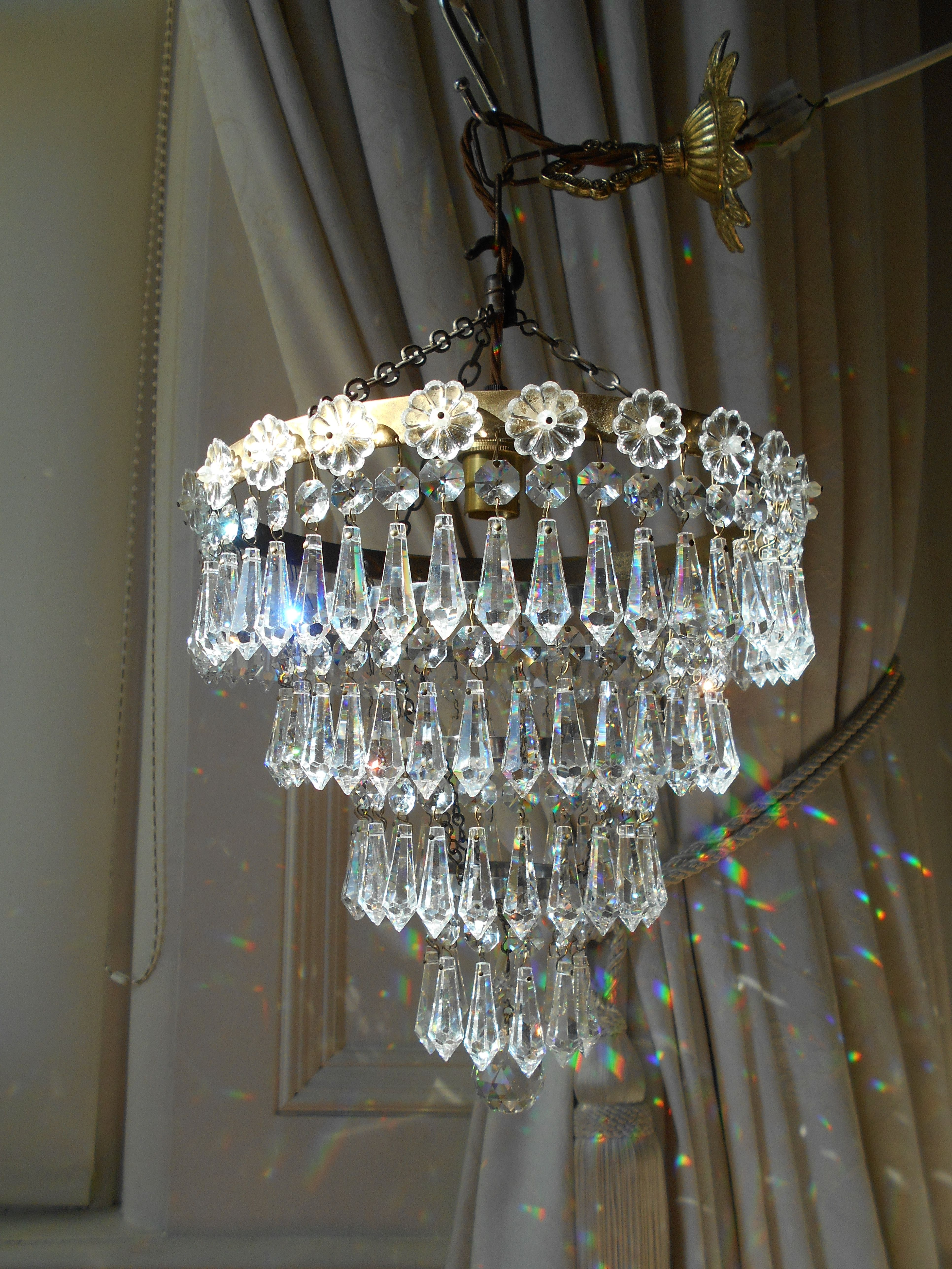 Vintage 4 Tier Lead Crystal Waterfall Chandelier
