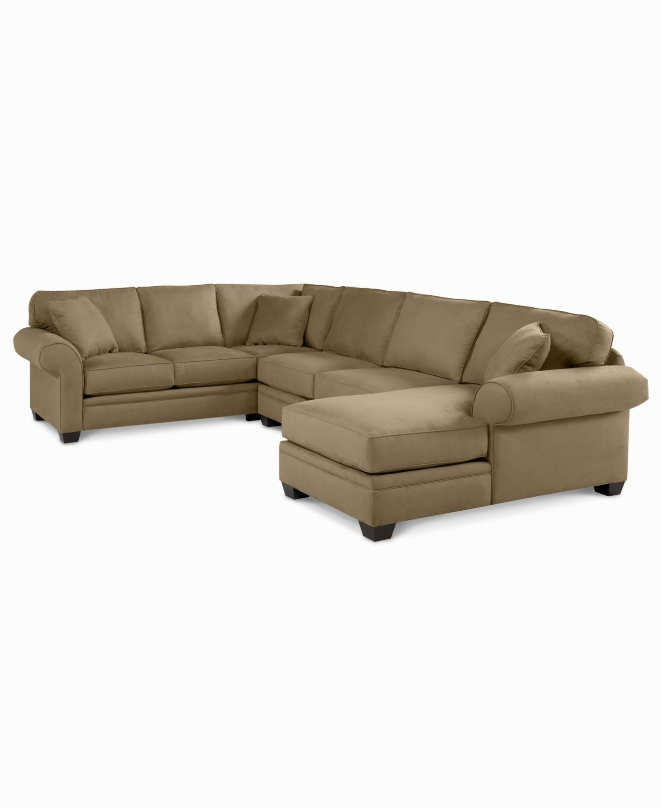 Raja Fabric Microfiber 3 Piece Chaise Sectional Sofa Sectional