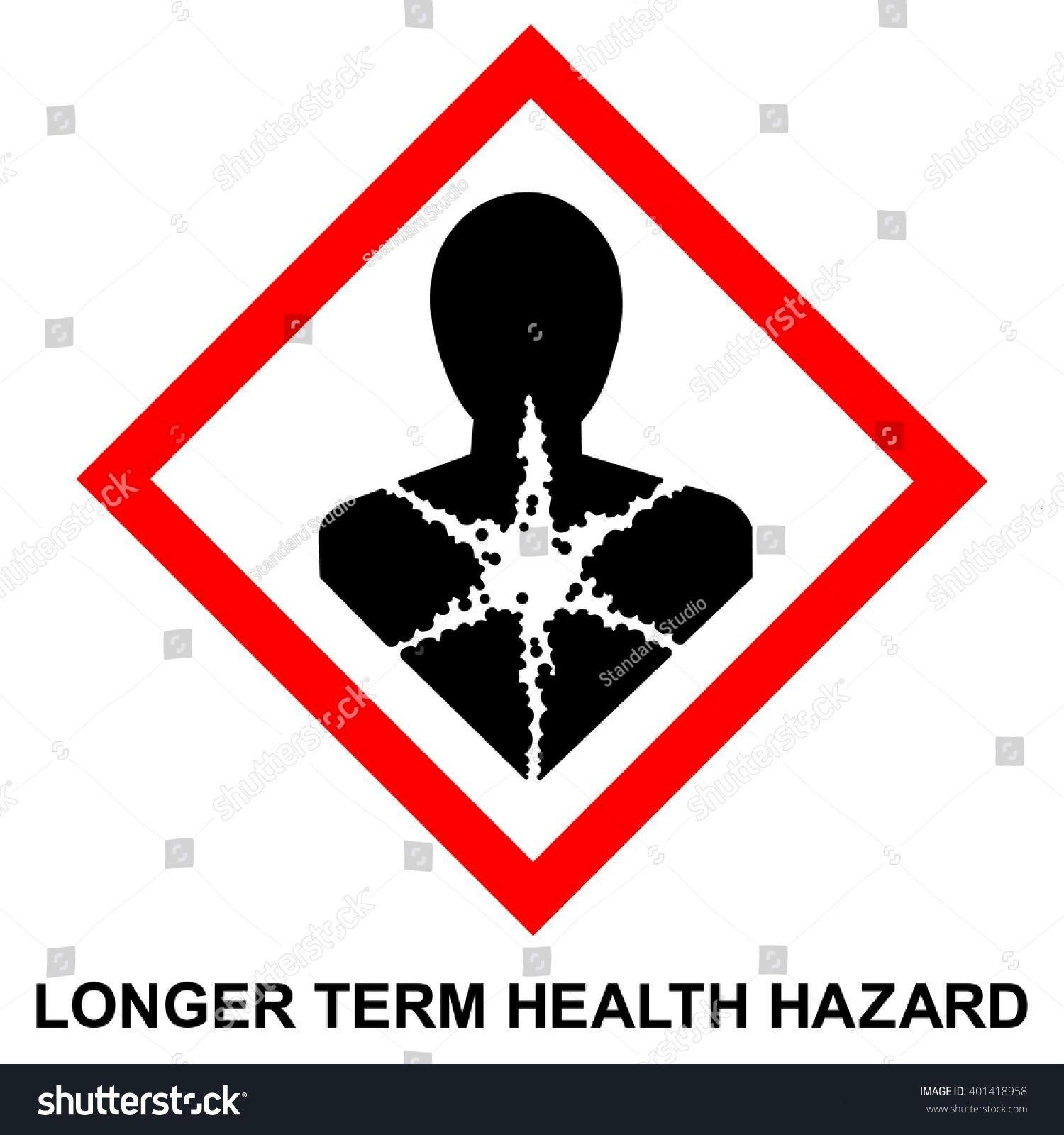 hazard pictogram  LONGER TERM HEALTH HAZARD  hazard warning sign LONGER TERM HEALTH HAZARD  isolated vector illustration GHS hazard pictogram  LONGER TERM HEALTH HAZARD...