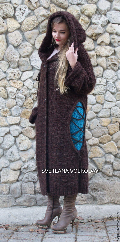 """Купить Вязаное пальто """"Тайные встречи"""" - коричневый, абстрактный, бирюзовый, бирюза, пальто женское"""