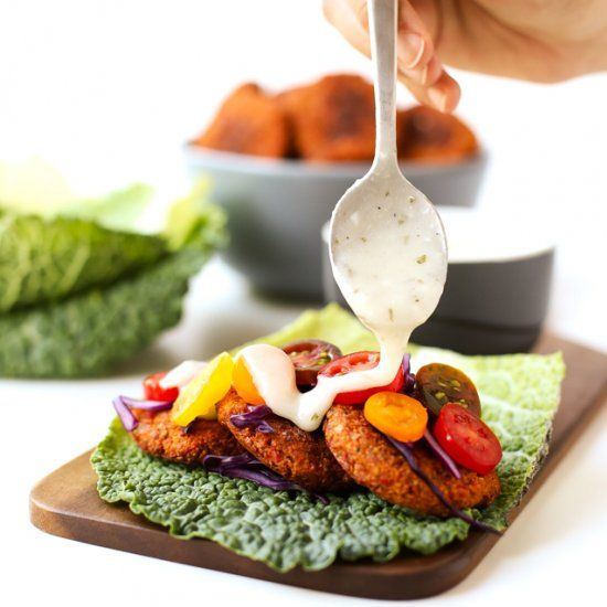 I'm in love with this gluten-free baked falafel, it's so delicious! I usually serve it with raw veggies and homemade vegan yogurt sauce.